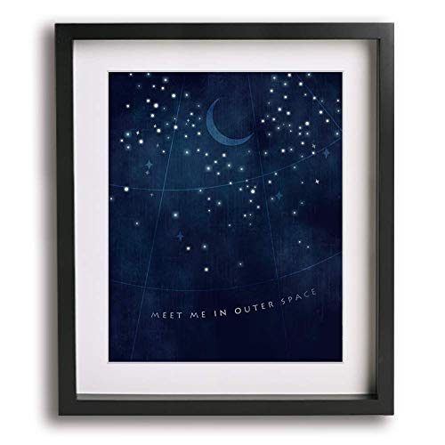 Stellar | Incubus inspired song lyric art print - romantic wedding anniversary gift idea moon space stars modern wall home decor gift idea for him