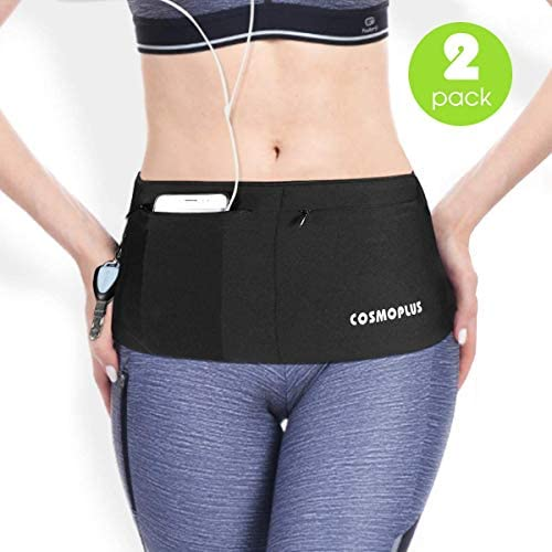 COSMOPLUS Stretchy Travel Money Running Belt Fanny Waist Pack Hiking Fits Passport Smartphone Secure Pockets
