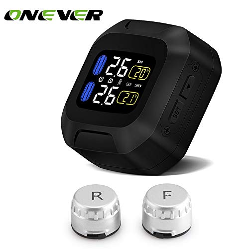 (Black : Onever Motorcycle TPMS Tire Pressure Monitoring System 2 External Sensor LCD Display Moto Auto Temperature Tyre Alarm Systems)