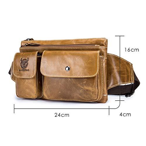 Multifunción Hombro Para Bags Bolso Piel Cuero Correr Bandolera Cintura Hombre De Brass Pecho EwYxPqx0A