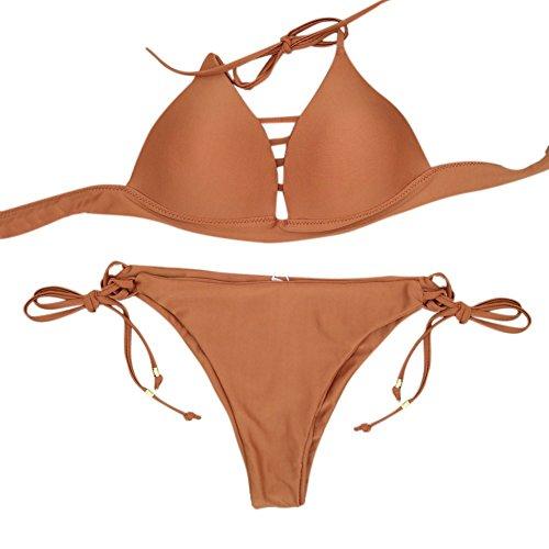 Smartcoco Sexy Woman Strap Two-Piece Bikini Swimsuit Summer Beach Surfing Bathing Suit Brown XL