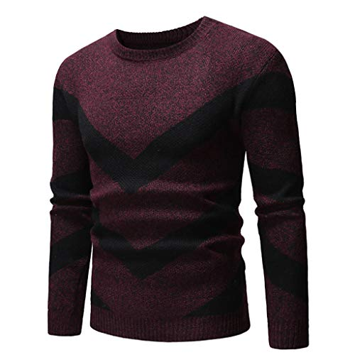 Zackate Mens Long Sleeve O-Neck Knitted Sweater Casual Solid Color Patchwork Elastic Top Sweatshirt Pullover ()