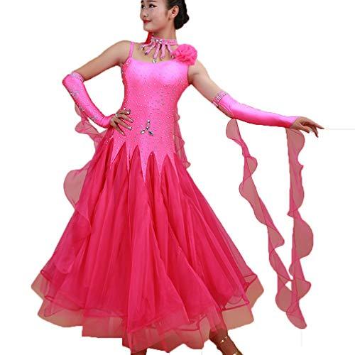 Salle Robes Femmes Jupe Tango Pour Performance Concours Moderne Wqwlf Bal Les Costumes Danse xxl Rose Lisse Extensible De Valse SndqxxZ