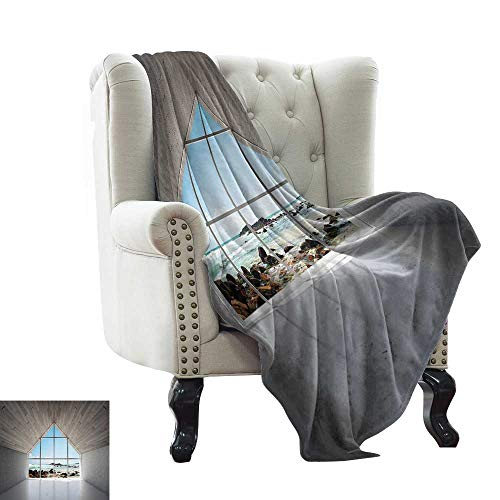 WinfreyDecor Reversible Blanket Modern Calm Relaxing Lounge with Sea Ocean Coastal Scenery View Print All Season for Couch or Bed 70