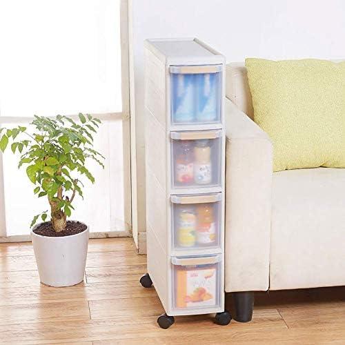 BZM-ZM バスルーム自立棚、プーリと引き出し収納キャビネット、プラスチック製の収納キャビネット、収納ボックスラックを備えたバスルーム、ベージュ4