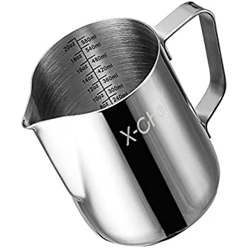 Milk Frothing Pitcher, X-Chef Stainless Steel Creamer Frothing Pitcher 20 oz (600 ml)