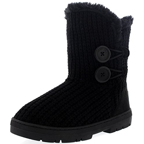 Womens Twin Button Fully Fur Lined Waterproof Winter Snow Boots ,11 B(M) US,Black Knitted (Womens Casual Winter Boots)