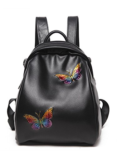 - Skyseen Womens Fashion Embossed Butterfly Leather Backpack Shoulder Bag Tote Bags