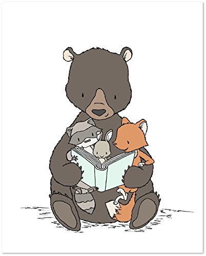 - Bear - Storytime With Bear - Woodland Nursery Art Print