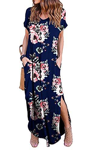 Silvous Women's V Neck Side Pockets Split Hem Summer Beach Long Maxi Dress (Navy Blue M)