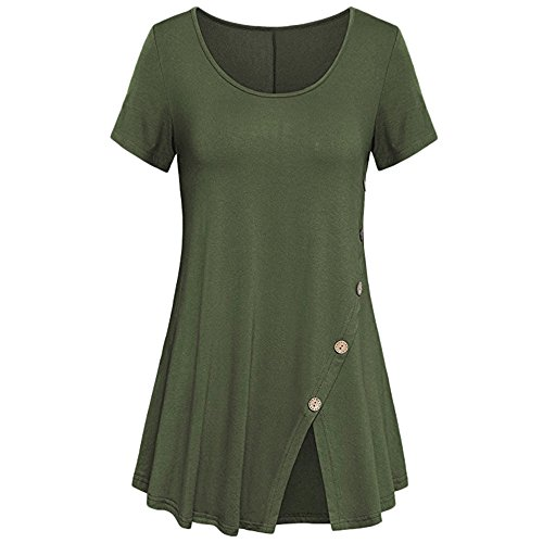 (ADREAMLWomen's Short Sleeve Crewneck Casual Button Details Tunic T Shirt Top Army Green)