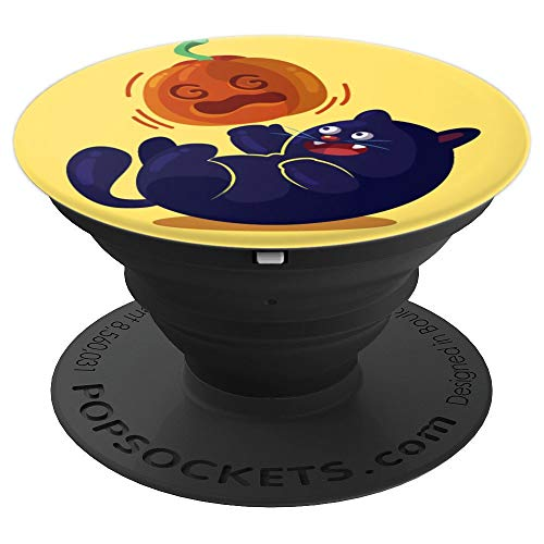 (ACTIVE BLUE BLACK CAT PLAYING WIF PUMPKIN NOT BALL OF THREAD - PopSockets Grip and Stand for Phones and Tablets)