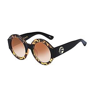 UV- Oversized Round Sunglasses Women Multi Tinted Frame,Fashion Trend Sunglasses(amber frame)