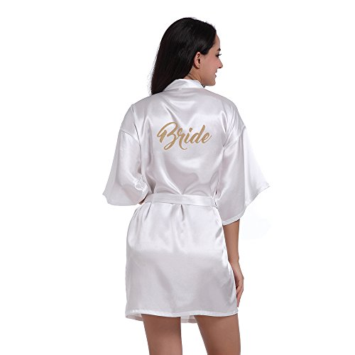 TheRobe Women's Pure Colour Short Kimono Robes With Gold Glitter For Wedding Party (White, ()