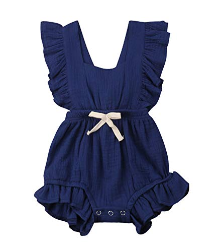 VISGOGO Toddler Baby Girl Ruffled Rompers Sleeveless Cotton Romper Bodysuit Jumpsuit Clothes (12-18 Months, Navy Blue)