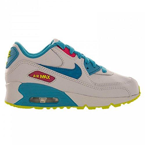 Nike Kids Air Max 90 2007 (PS) White/Blue Lagoon/Volt/Clrwtr Running Shoe 12 Kids US