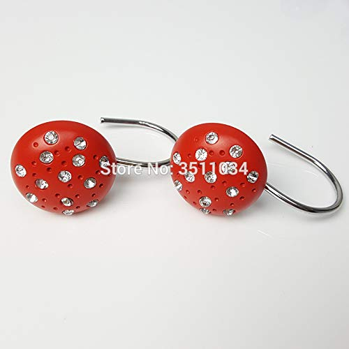 Red Color 4bag 48pcs Hemispherical drill, resin hook, spherical shower curtain hook, shiny lamp curtain hanger. curtain accessory