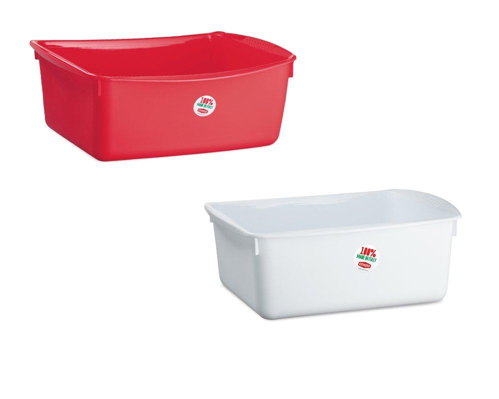 Rechteckige Waschschüssel in verschiedenen Farben 10 Liter Fassungsvermögen • Spülschüssel Plastikschüssel Kunststoff Schüssel Camping Spüle 10L H-Collection