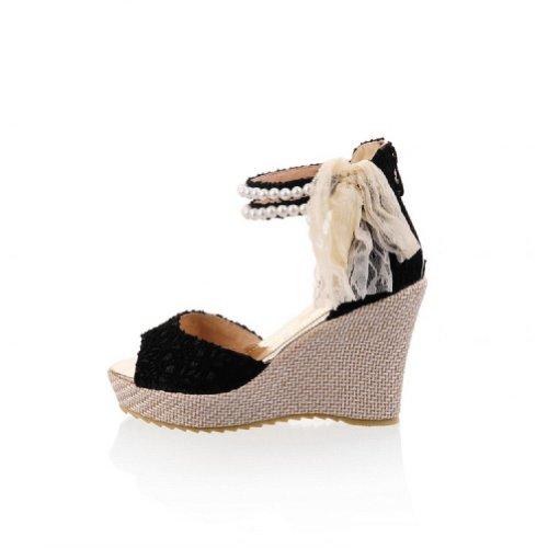 Carol Chaussures Mode Dentelle Perlée Femmes Plateforme Talon Compensé Peep Toe Sandales Noir