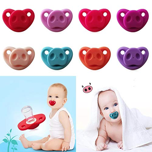 Hello22 Baby Cartoon Pig Nose Pacifier, Soft Silicone Cute Pacifier Design Teether Toys for Newborn Infant Toddler, Perfect for Boys Girls - BPA Free ()