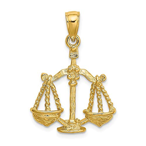 14k Yellow Gold Large Libra Zodiac Pendant Charm Necklace Fine Jewelry Gifts For Women For Her