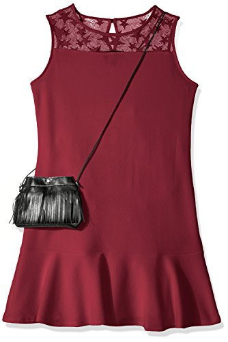 Amy Byer Big Girls' Sleeveless Dress with Flounce Hem and Purse, Plum, (Girls Drop Waist Dress)