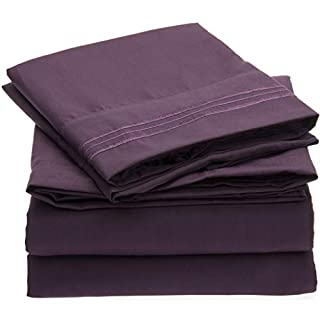 Mellanni Bed Sheet Set - Brushed Microfiber 1800 Bedding - Wrinkle, Fade, Stain Resistant - Hypoallergenic - 4 Piece (King, Purple) (B00NQDGKZC) | Amazon price tracker / tracking, Amazon price history charts, Amazon price watches, Amazon price drop alerts