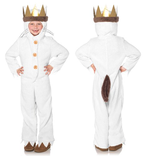 Hooded Pajamas with Tail & Attached Crown Head Piece, Cream, Small ()