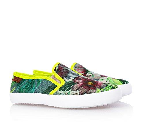 GUESS - Slip-on verde in tessuto, con stampa floreale, Bambina, Ragazza
