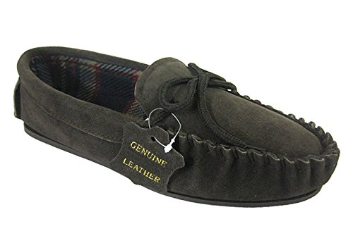 Mens Mokkers Navy Blue Leather Suede Moccasin Slippers With Hard Outdoor Sole Sizes 6 to 13 E3Gxl