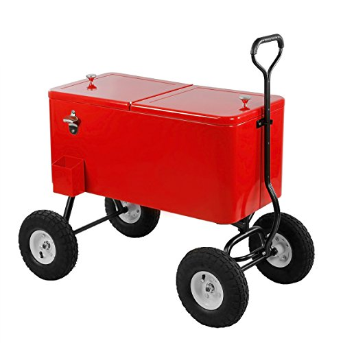 Clevr 80 Qt Party Wagon Cooler Rolling Cooler Ice Chest, Red, with Long Handle and 10'' All Terrain Wheels, Portable Patio Party Bar Cold Drink Beverage Chest, Outdoor Cooler Cart on Wheels by Clevr (Image #1)