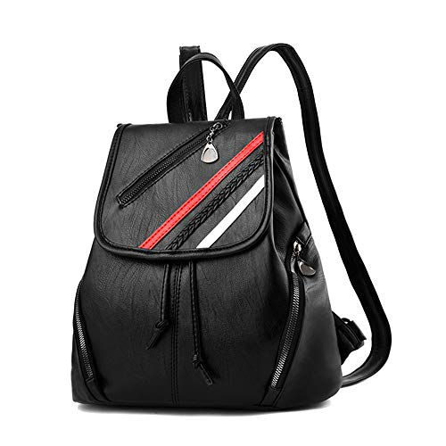 Women Bag Girls Backpack bag PU Rucksack Leather Black Ladies Travel Leather 2 Backpack Shoulder Fashion YqwS5Xw