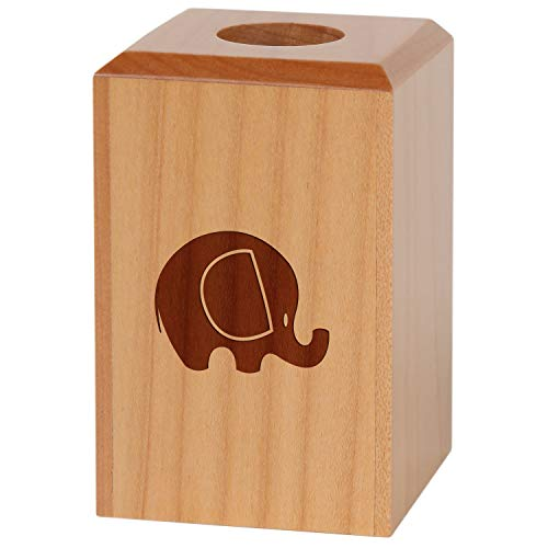 Elephant Magnetic Paper Clip Holder - Paper Clip Organizer with Laser Engraved Design - Wood Paper Clip Holder Gift ()
