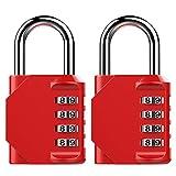 Puroma 2 Pack Combination Lock 4 Digit Padlock for School Gym Locker,Sports Locker,Fence,Toolbox,Case,Hasp Storage (Red)