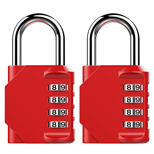 Puroma TH009 2 Pack Combination Lock 4 Digit Padlock for School Gym, Sports Locker, Fence, Toolbox, Case, Hasp Storage (Red)