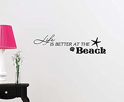 wall vinyl decal life is better at the beach starfish shells ocean