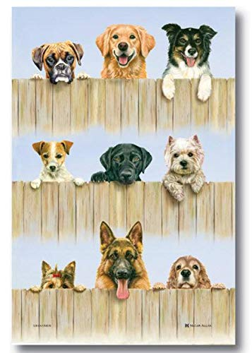 Samuel Lamont, K-9 (Canine) Dogs Kitchen/Tea Printed Towel, Imported, Linen-Cotton Blend
