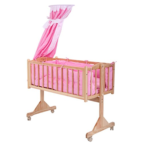 Pine Wood Baby Crib Child Cradle Nursery Side Bed Toddler Daybed Furniture w/Canopy Pink