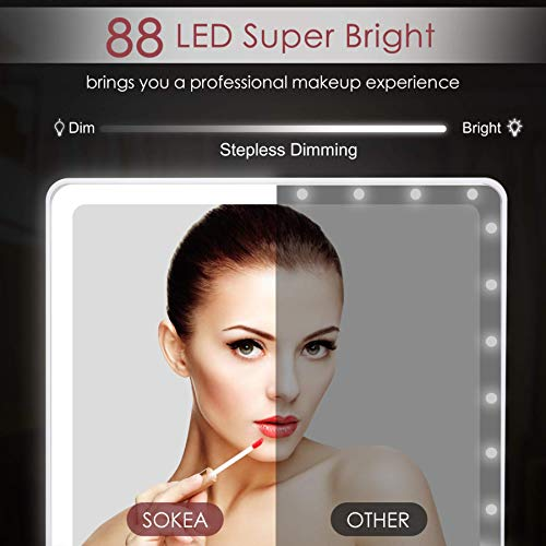 SOKEA Large Lighted Makeup Mirror, Makeup Mirror with 88 LED Lights and Magnification, Lighted Vanity Mirror with Mini…