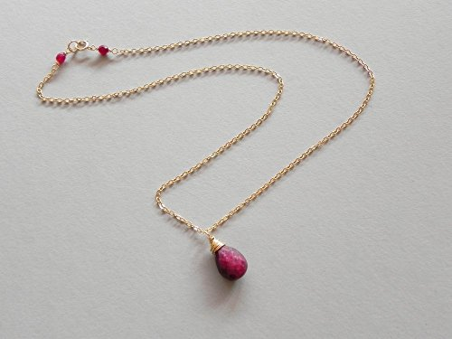 (Deep Red Ruby Gold filled gemstone necklace - 18
