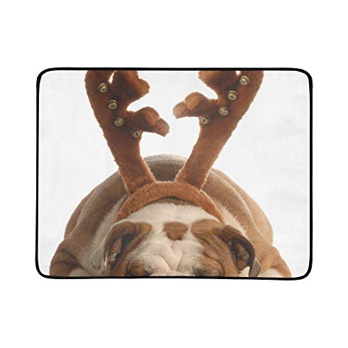 YSWPNA Rudolph Red Nosed Bulldog Portable and Foldable Blanket Mat 60x78 Inch Handy Mat for Camping Picnic Beach Indoor Outdoor Travel