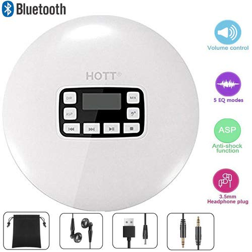 DeeFec HOTT Portable Bluetooth CD Player LED Display/Headphone Jack Anti-Skip Protection Anti-Shock Personal CD Music Compact Disc Player Kids Adults Students, White