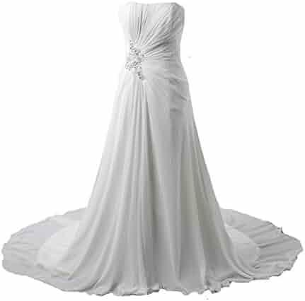 dcbc9b924ad Kivary® Women s White Chiffon A Line Beach Informal Bridal Wedding Dresses