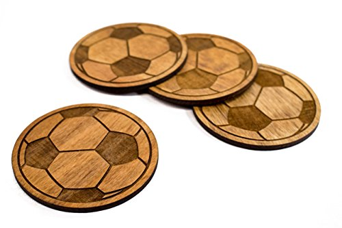 Stained Soccer Ball Coaster Set - 4 3.5