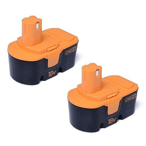 Masione 2Pcs Replacement Ryobi ONE+ 18V Battery 2000mAh P100 P101 One Plus 130224028 Power Tool Drills High Capacity