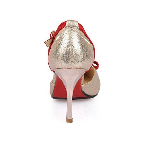 de Picos VogueZone009 sólidas Materiales Zapatos de mujeres Hebillas las puntiagudas Puntas mezcla Rojo Estiletes cerradas AwAqT4S