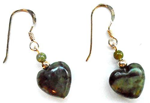Irish Connemara Marble: Puffed Marble Hearts on Sterling Silver Hooks