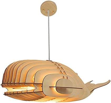 HROOME Unique Design Wood Hanging Pendant Ceiling Light Fixture with Cord DIY Decorative Whale Large Suspended Chandelier Lamp Shade for Bar Kitchen Dining Room Large