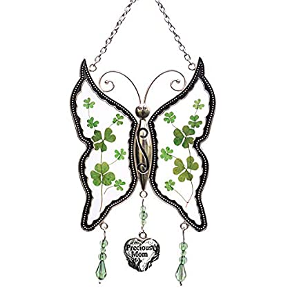 Shamrock Precious Mom Butterfly Sun-catchers Gifts for Mother, PrGlass for Window, Silver Metal Engr...