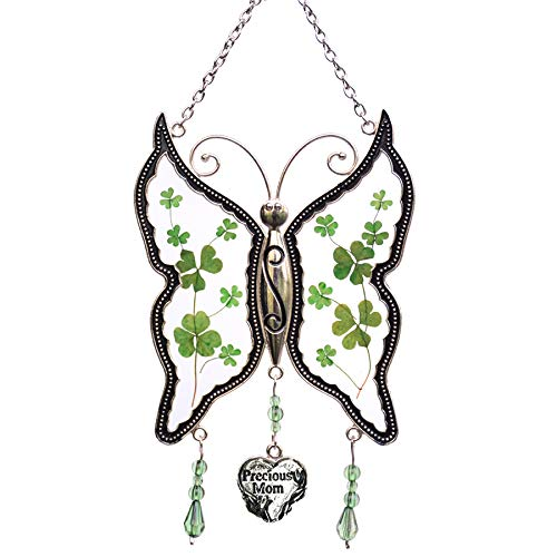 - Shamrock Precious Mom New Butterfly Suncatchers Glass Wind Chime Gifts for Mom for Birthdays St Patrick's Day Irish Gift in-Law Gift Irish Family Pressed Flower Wings Embedded in Glass